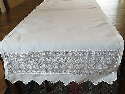 Antique Linen Table Runner with Lace Insert Panels White 20x62 Fine Holiday