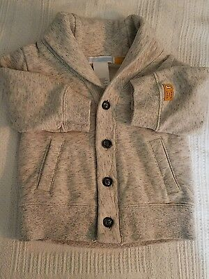 Janie And Jack Baby Boys Long Sleeve Gray Jacket Size 3-6 Months 100% Cotton