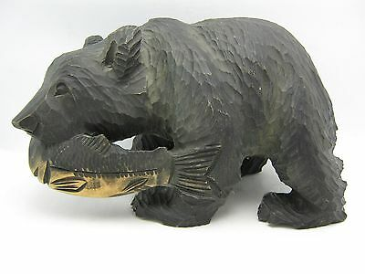Antique Black Forest Carved Wood Bear Fish In Mouth Figurine