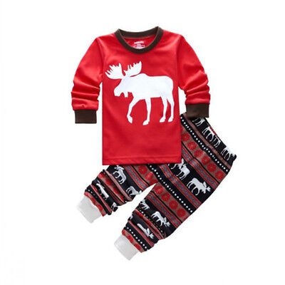 5-6 Years Kids Baby Girls Boys Reindeer Sleepwear Nightwear Pajamas Pyjamas Set