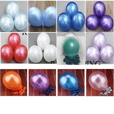 100 Latex PEARLISED Ballons baloons helium Quality Party Birthday Wedding 10inch