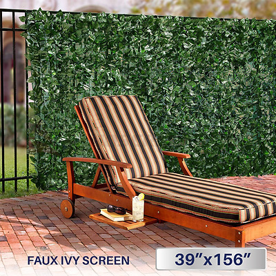 """Windscreen4less Artificial Faux Ivy Leaf Decorative Fence Screen 39"""" x 156"""" Ivy"""