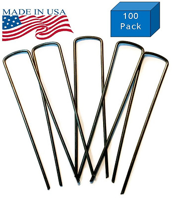 100 Commercial Grade Garden Landscape Staples Stakes, 6 inch 11-gauge, Sharp Ang