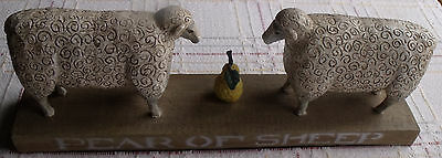 PEAR OF SHEEP Carved Folk Art Sculpture   Ex Cond