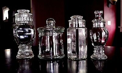 4-Vintage Glass Apothecary Or Candy Jars Wedding Buffet Jars Displays