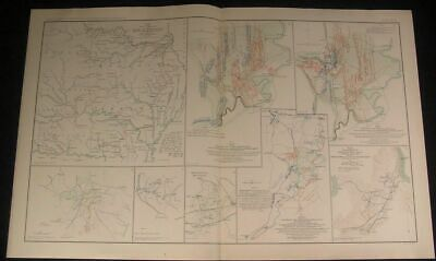 Fall Campaign Army of Mississippi c.1890s huge detailed antique Civil War map