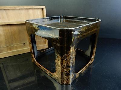 F6002: Japanese Wooden Landscape Pine gold lacquer pattern SAKE CUP TRAY/stand