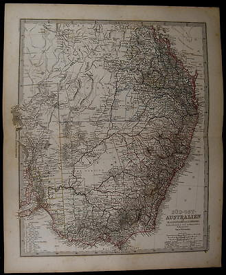 SE Australia Victoria New South Wales Queensland 1884 fine old detailed map