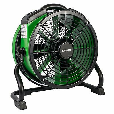 XPOWER X-34AR Industrial Sealed Motor Axial Fan Air Mover w/ Power Outlets Green