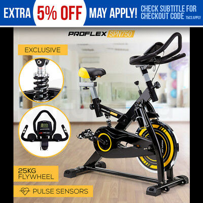 PROFLEX Spin Bike Flywheel Commercial Adjustable Gym Pulse Exercise Home Fitness