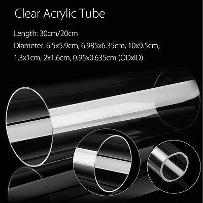 Clear Acrylic Lucite Tube 200-300mm Length, 9.5-100mm OD,6.35-95mm ID