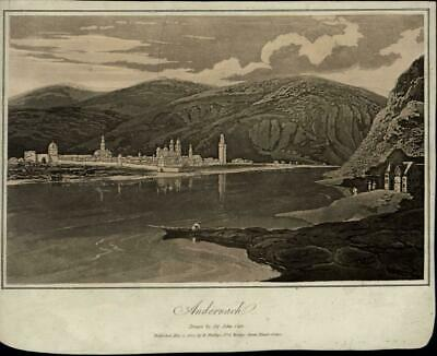 Andernach Hills River Boat Village nice 1807 scarce antique Germany view print