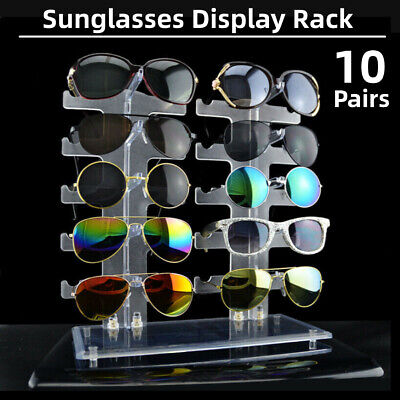 Acrylic 10 Pair Sunglasses Glasses Show Rack Counter Display Stand Holder AU
