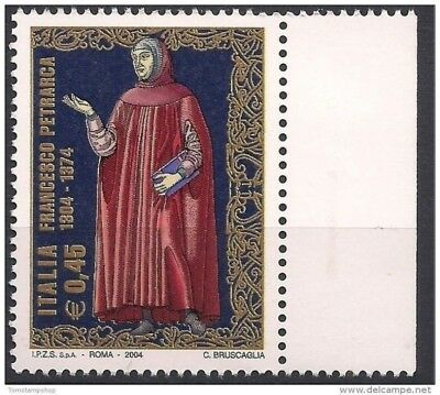 Italy 2004 Petrarch Poet- Early Renaissance Poetry Literature Book People 1v MNH