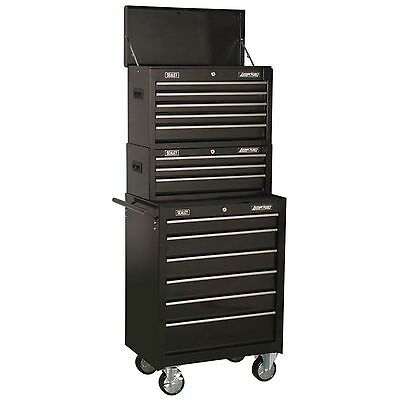 Sealey Tool Topchest, Mid-Box & Roolcab 14 Drawer Stack Black - AP22BSTACK