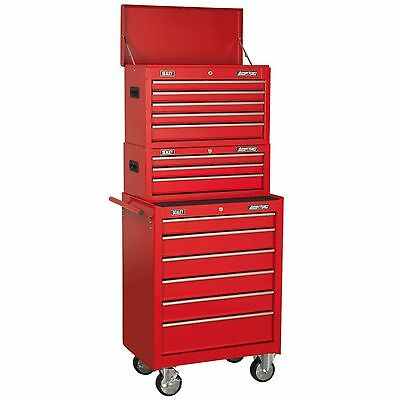 Sealey Tool Topchest, Mid-Box & Rollcab 14 Drawer Stack In Red - AP22STACK
