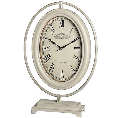 Large Vintage Style Antique Cream Free Standing Metal Shelf Mantel Oval Clock