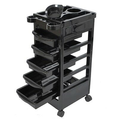 Salon Hairdresser Trolley Beauty Spa Hair Barber Storage Rolling Cart 5 Drawers