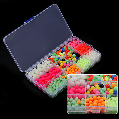 1000Pcs Protable Round Oval Plastic Glow Fishing Beads Sea Lures With Box TP