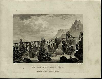 Road of Pillars Bridge Waterfall Conifers Cliffs China nice 1783 antique view