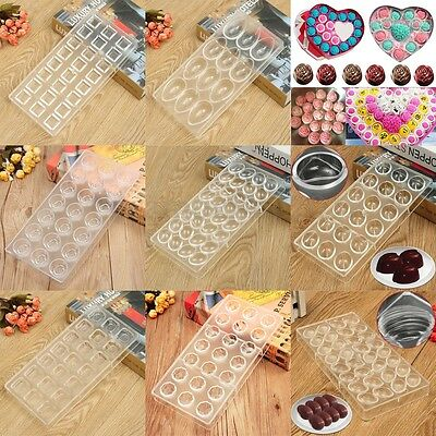 8 Style 3D PC Clear Plastic Hard Chocolate Mould Candy Cookie Cake Tray Mold DIY