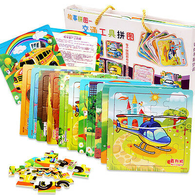 16pcs Wooden Tray Puzzle Fruit Animal Car For Children Kids Wood Toy Gift Jigsaw