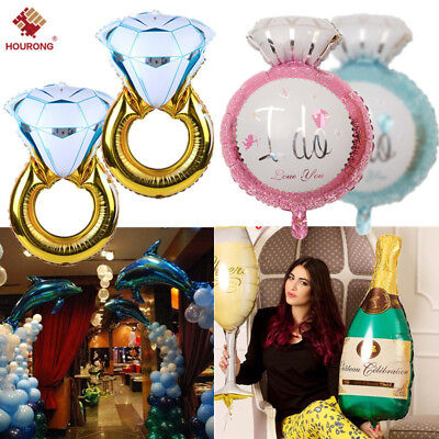 2Pcs Diamond Ring Foil Balloon Birthday Wedding Party Anniversary Helium Decor