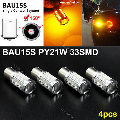 4X 1156 BAU15S PY21W LED 33SMD Daytime Running Lights Amber Orange Yellow Bulbs