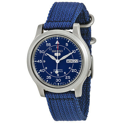 Seiko 5 Men's Automatic Blue Stainless Steel Watch, Canvas Strap, 10 ATM SNK807