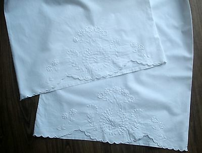 Vintage White Cotton Whitework Embroidered Very Long Bolster Pillow Case