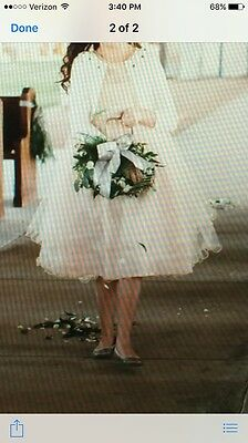 Girls Flower Girl Easter Special Occasion Wedding Champagne Tulle Dress Size 10
