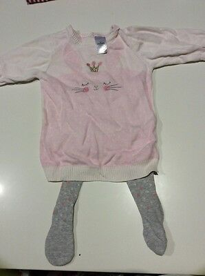 baby girl outfit. jumper and tights. size 3-6 months / 00