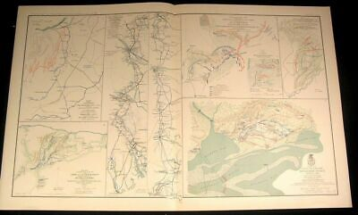 Siege Operation Spanish Forts c.1890s huge detailed antique Civil War map