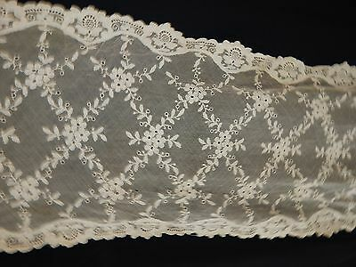 vintage lace runner cloth ecru lace mesh tambour antique antique