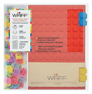 Kristins Gifts WAFF Silicone Cover Journal with 100 Locking Cubes, Large. Red