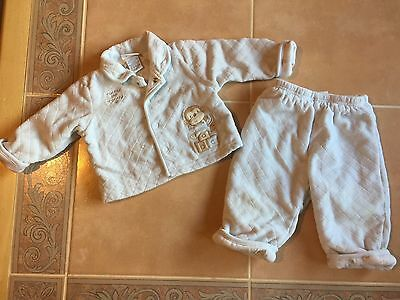 Baby Boy's two piece long sleeve Outfit blue with monkeys 3-6 months