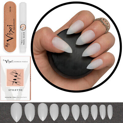 100x STILETTO Medium FALSE/FAKE STICK ON NAILS Natural Opaque ✅ FREE GLUE Vixi