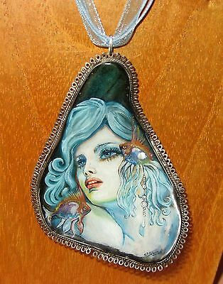 Pendant IZOTOV Genuine SHELL in Green Silver hand painted Beautiful MERMAID GIFT