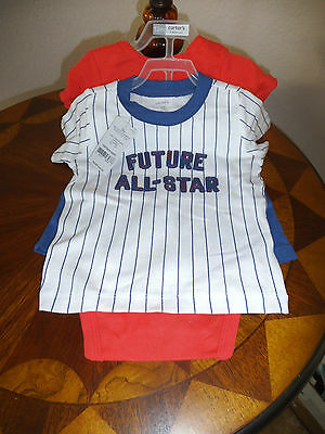 Nwt Carter's Baby Boy 3 Piece Set Bodysuit, T Shirt, Shorts Size 12 Months