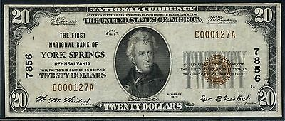 Fr1802-1 $20 1St Nb Of York Springs, Pa #7856 Vf+ Rare Finest Recorded Wlm3180