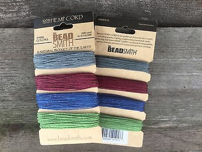 Beadsmith Dark 4 colour Hemp cord in 0.55mm (10lb) and 1mm (20lb)