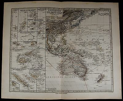 Polynesia Pacific Australia New Zealand Fiji Samoa 1884 fine old detailed map