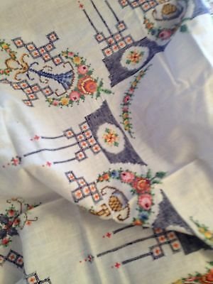 Gorgeous hand embroidered cloth +napkins with masses of beautiful cross stitch