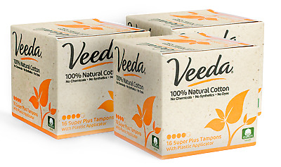 Veeda Natural All-Cotton Tampons, Super Plus, Compact Applicator, 48 Count