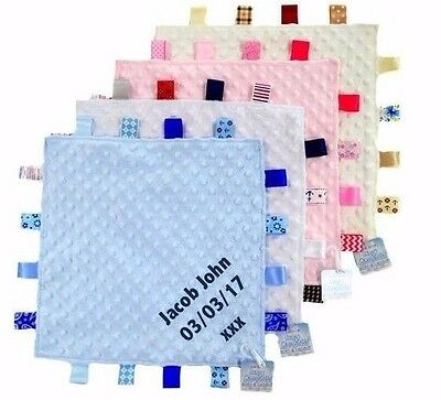 Personalised Embroidered Baby Comforter Security Blanket with Tags 0+ Gift