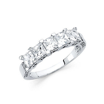 2 Ct Princess Diamond Engagement Wedding Anniversary Ring 14k White Gold 5-Stone