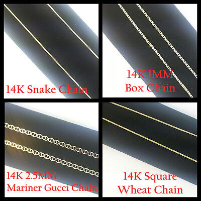 14K Solid Yellow Gold Chains Necklace Box/Snake/Mariner/Wheat Chain Lobster Lock