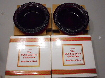 Avon Cape Cod Collection Ruby Red Set Of 2 Cereal Bowls New In Box