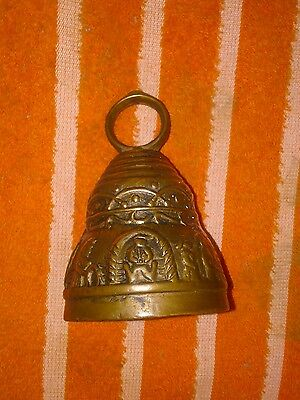 """Vintage 4"""" Solid Brass Etched Bell Beautiful Patina"""
