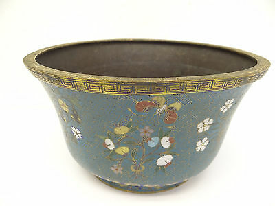 Antique Old Chinese Qing Dynasty Cloisonné Flower Bouquets Ceremonial Bowl